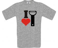 ShirtInStyle Männer-Shirt I Love Kartoffelschäler Essen Kochen Backen, Farbe sportsgrey, Größe XL
