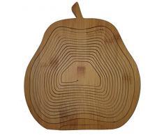 Obstkorb Birne - wunderschöner Klappkorb 30 x 30 cm aus Bamboo Bambusholz Faltkorb Holzkorb Korb Schale aus Bambus Obstkorb Dekoschale Obstschale Holz faltbar Gemüseschale Obstteller, ideal auch als Untersetzer für Töpfe, Pfannen