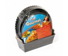 Kaiser Gourmet-Backform-Set 4-teilig Springform, Ø 26 cm mit zwei Böden (Flachboden Rohrboden), Tortenboden Ø 28 cm, Königskuchenform 25 cm