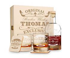 polar-effekt 6 TLG Geschenk-Set in Holzkiste mit Gravur - 2 Whiskygläser, 2 Untersetzer und Whisky-Karaffe in Geschenk-Box - Individuelles Geschenkidee - Motiv Original-Exklusive