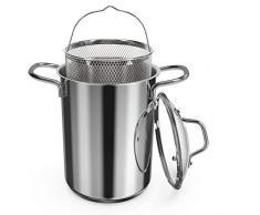 Navaris Spargeltopf Kochtopf Nudeltopf 3,9l - Topf zum Kochen von Spargel oder Spaghetti - aus Edelstahl mit Siebeinsatz - BPA-frei spülmaschinenfest