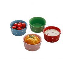 CANDeal 4 er Set Bunte Keramik Creme Brulee Formen bestehend aus bunten Souffleförmchen