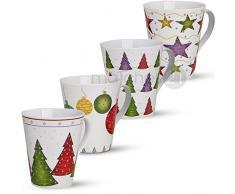 matches21 Tolle Motiv Weihnachtstassen Herzen & Holz Dekor Weihnachtsmotiv Tassen 3er Set aus Porzellan je 11 cm / 400 ml
