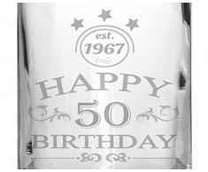 2 Edle Whiskey-Gläser mit Whiskeykaraffe 50 Jahre Gravur - Whisky-Set graviert Geschenkidee