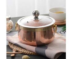 YB&GQ Stock Pot Stielkasserolle Mit Glasdeckel,1.4L Reines Kupfer Shabu Shabu Hot Pot Rapid Nudeln Kocher,Bedeckte Casserole Schale Rose Gold 14x8cm(6x3inch)