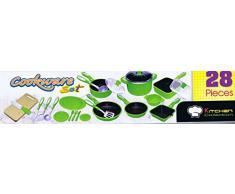 28 tlg Kochtopf Set für Spielküche Töpfe Pfannen Bräter viel Zubehör grün