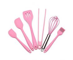 Feleph Küchenhelfer Set Silikon Kochgeschirr Set Küchenutensilien Set Aufhängen Hitzebeständig Kochbesteck Hochwertige Hitzebeständig Antihaft Backutensilien (Pink) (Pink 6 Stück)