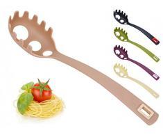 Spaghettilöffel mit Spaghettimaß - Spaghettiheber - Pastalöffel - Pastaheber - Nudelheber - Nudellöffel - Spaghettigreifer - Spaghetti, Farbe:Umbra