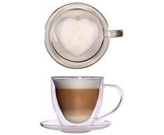 350ml große doppelwandige Glas Thermo-Herztasse mit Untersetzer - edle und extra große Glas-Teetasse / Kaffeetasse mit Schwebeeffekt, Glastasse mit Herzform innen, Henkel und Untersetzer, Celissimo zu Weihnachten, zum Valentinstag, zum Muttertag