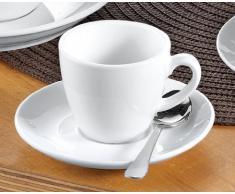 Esmeyer 433-214 6 Espresso-Tassen 0,10 ltr mit Untertasse - aus weißem, schweren Porzellan Form BISTRO - UNI WEISS