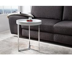 DuNord Design Beistelltisch Couchtisch TRITON 40cm weiss Chrom Retro Design Tablett Tisch