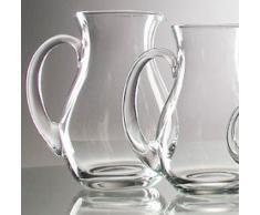 Krug antiker Stil bauchig klares Glas mit Henkel dekorative Karaffe mit Ausgiesser Kristall Glas, mundgeblasen Inhalt 2 Liter klar Höhe ca. 22 cm