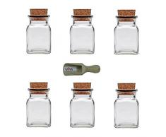 Viva Haushaltswaren - 6 x Gewürzglas eckig 150 ml, Glasdose mit Korkverschluss als Gewürzdose & Vorratsdose für Gewürze, Salz etc. verwendbar (inkl. kleiner Holzschaufel 7,5 cm)