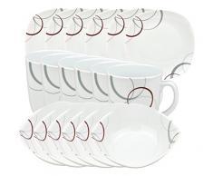 Frühstücksset Palazzo 18tlg. - 6 Teller, 6 Müslischalen und 6 Becher aus weißem Porzellan mit Dekor-Kreisen in grau und dunkelrot - für 6 Personen