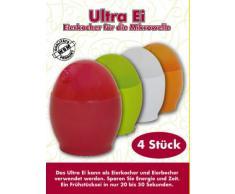 Ultra-Ei Eierkocher 4er Set rot grün weiss und orange, ein Frühstückei in nur 20 bis 50 Sekunden Turbo schnell ist Ihr Frühstücksei fertig, sparen Sie Zeit und Energie, kann als Eierkocher und Eierbecher verwendet werden