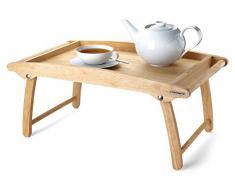 Continenta Betttablett aus Gummibaumholz, Betttisch, Frühstückstablett für Ihr Bettfrühstück, Größe: 61 x 35 x 7 cm
