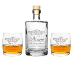 4 Edle Whiskeygläser mit Whiskeykaraffe und Gravur Krone II Whisky-Set graviert