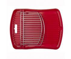 Geschirrabtropfgitter Abtropfgitter Abtropfkorb Abtropfgestell Geschirrabtropfschale, mit Tellerhalter, Kunststoff/verchromtes Metall, ca. 43.5 x 33 x 3 cm, rot