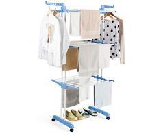 COSTWAY Wäscheständer faltbar, Wäschetrockner rollbar, Standtrockner Kleiderständer mit Faltregalen, Schuhablage, schwenkbaren Haken (blau)