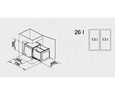Blanco Botton Pro 45/2 Automatic, Müllsystem für die Abfalltrennung in der Küche, mit 2 Mülleimern (je 13 l) und Türmitnehmer, zur Boden-Montage im 45 cm-Unterschrank; 517468