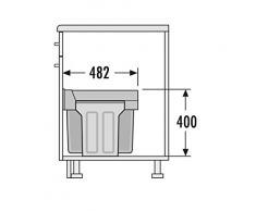 Hailo 3666841 Abfallsammler TZ Swing 30.3/30 für Schränke ab 300 mm Breite mit Drehtür, Plastik, grau, 48.2 x 25.1 x 40.0 cm