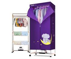 Mini Wäschetrockner 1200W Multifunktionskleidung Babykleidung Desinfektionsschrank Unterwäsche Spezial Kleiderschrank mit Timing-Heizung (Farbe: LILA, Größe: Aluminiumlegierung)