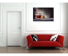 Quadratische Karaffe und ein Glas Whisky mit Eis - 45x30 cm - Textil-Leinwandbild auf Keilrahmen - Wand-Bild - Kunst, Gemälde, Foto auf Leinwand - Küche