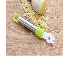 Obstschäler aus Edelstahl Zitronenorange Zester Reibe Gemüseschäler Edelstahlgriffe Limettenschale Schälmesser Werkzeug (Grün) DEjasnyfall