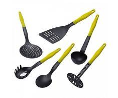 Lantelme 4858 Kochbesteck Set 6 tlg. Küchenhelfer gelb/schwarz Hitzebeständig und Spülmaschinenfest