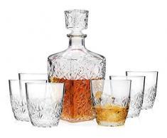 Bormioli Whisky Set Dedalo aus Glas 7 teilig | Füllmenge Karaffe 0,78 L | Füllmenge Gläser 260 ml | Stilvoller Whiskygenuss in höchster Qualität