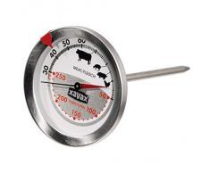 Xavax 2-in-1 Bratenthermometer aus Edelstahl (gleichzeitige Messung von Gar- und Ofentemperatur, spülmaschinengeeignet) silber