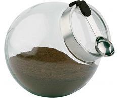 APS 00636 Vorratsdose mit Löffel Ø 20cm, H: 18cm, 3 Liter Glas, Edelstahl, Silikon mit aromadichtem Verschluss, Löffel mit magnetischem, Silikongriff