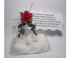 Gastgeschenke für Hochzeit Taufe Tischdeko weiß gefüllt mit Mandeln und Spruch