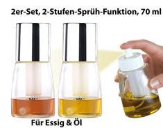 Rosenstein & Söhne Ölzerstäuber: Essig- & Öl-Sprühflasche mit 2-Stufen-Sprüh-Funktion, 70 ml, 2er-Set (Ölsprühflasche)