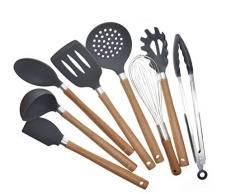8-teiliges Küchenhelfer Set Silikon, Küchenutensilien aus Silikon und Holzgriff, Küchenutensilien Kochbesteck Set, Küchenhelfer für Beschichtete Pfannen und Töpfe