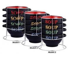 5-tlg. Suppenschalen SET mit Ständer - Keramik - 4 Schalen 700 ml - 3 versch. Modelle - Dessertschale - Suppenschüssel - Terrine - Suppenterrine - Suppentasse - Müslischalen-Set - Müsli Schale - Müslischüssel, Motive:Modell 1