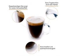 Green Spirit - 6er Set Doppelwandige Gläser für Kaffee, Latte Macchiato und Tee - 360 ml | Extra-kratzfestes Borosilikatglas mit Schwebe-Effekt