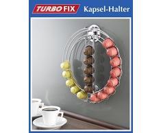WENKO TurboFIX Kapselhalter - OHNE BOHREN - Metall Kapselspender für 24 NESPRESSO Kapseln - Dispenser - Kapselständer - Kaffee Kapseln