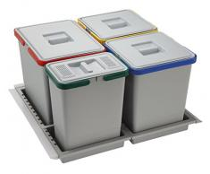ELLETIPI Metropolis ptc28 06050 2 F C10 PPV Mülleimer Mülltrennung-Schublade, grau, 51 x 46 x 28 cm