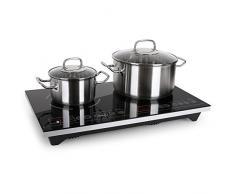 Klarstein VariCook XL Kochplatte Doppelkochplatte Induktions-Kochfeld (3100W, Timer, bis 240°C, Touch-Control, Glasoberfläche, Alu-Gehäuse) silber-schwarz