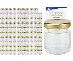 MamboCat 100er Set Rundgläser 53 ml Deckelfarbe gold TO 43 inkl. Diamant Gelierzauber Rezeptheft, Einmachgläser, Einkochgläser, Vorratsgläser, Mini Sturzgläser, Obstgläser, Portionsgläser, Gläser