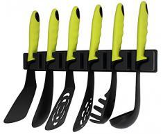 Kopf Küchenhelfer-Set Nylon, schwarz/neon grün, 7-teilig, inklusiv Wandhalterung