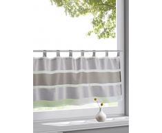 Wohntrends für Ihr Zuhause Design Schlaufen Scheibengardine Model Uli Taupe | Maße des Panneaux HxB 50x145cm | Halbtransparent transparent | mit Block-Streifen in Braun