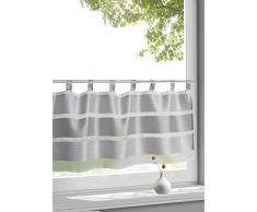Wohntrends für Ihr Zuhause Design Schlaufen Scheibengardine Model Uli grau | Maße des Panneaux HxB 50x145cm | Halbtransparent transparent | mit Block-Streifen in Silbergrau