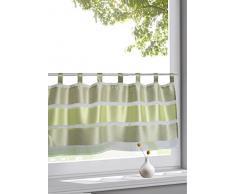 Wohntrends für Ihr Zuhause Design Schlaufen Scheibengardine Model Uli grün | Maße des Panneaux HxB 50x145cm | Halbtransparent transparent | mit Block-Streifen in apfelgrün