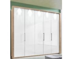 Panorama-Falttürenschrank mit Glasfront in 3 Breiten »Loft« beige, Breite 250cm, mit Schubkästen, WIEMANN