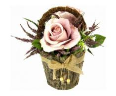 Kunstpflanze lila, B/T/H, »Gesteck Rosen in Rindentopf«, yourhome