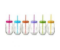 Trinkglas mit Strohhalm bunt, »Color Lid«, Zeller Present