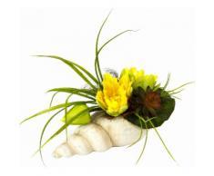 Kunstpflanze gelb, B/T/H, »Gesteck Seerose in Muschel«, yourhome