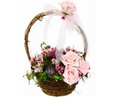 Kunstpflanze »Blüten in Weidekorb« rosa, B/T/H, yourhome